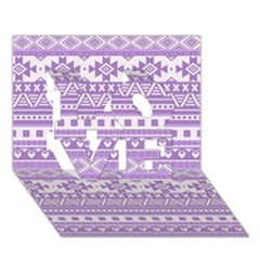 Fancy Tribal Borders Lilac Love 3d Greeting Card (7x5)