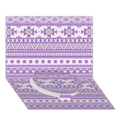 Fancy Tribal Borders Lilac Circle Bottom 3d Greeting Card (7x5)