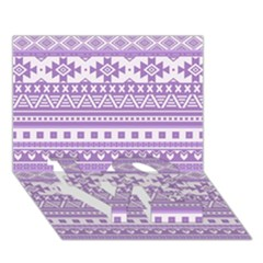 Fancy Tribal Borders Lilac Love Bottom 3d Greeting Card (7x5)