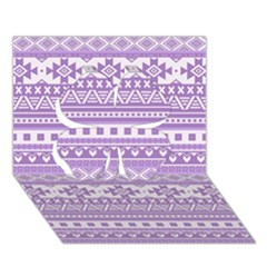 Fancy Tribal Borders Lilac Clover 3D Greeting Card (7x5)