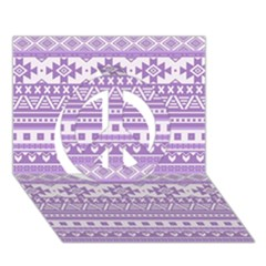 Fancy Tribal Borders Lilac Peace Sign 3d Greeting Card (7x5)