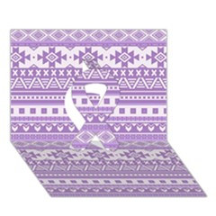 Fancy Tribal Borders Lilac Ribbon 3D Greeting Card (7x5)