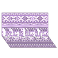 Fancy Tribal Borders Lilac BELIEVE 3D Greeting Card (8x4)
