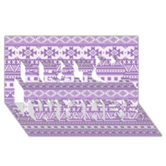 Fancy Tribal Borders Lilac Best Wish 3D Greeting Card (8x4)