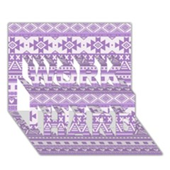 Fancy Tribal Borders Lilac Work Hard 3d Greeting Card (7x5)