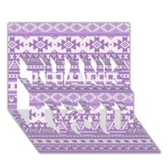 Fancy Tribal Borders Lilac Thank You 3d Greeting Card (7x5)