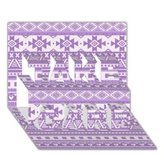 Fancy Tribal Borders Lilac TAKE CARE 3D Greeting Card (7x5)