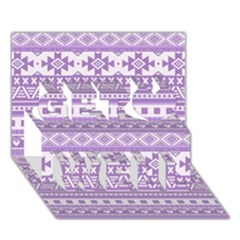 Fancy Tribal Borders Lilac Get Well 3D Greeting Card (7x5)