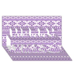 Fancy Tribal Borders Lilac Merry Xmas 3D Greeting Card (8x4)