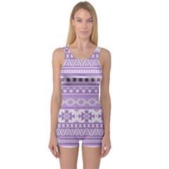 Fancy Tribal Borders Lilac Women s Boyleg One Piece Swimsuits