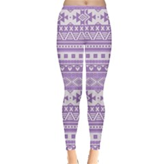 Fancy Tribal Borders Lilac Women s Leggings