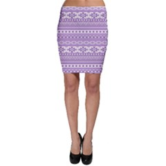 Fancy Tribal Borders Lilac Bodycon Skirts