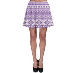 Fancy Tribal Borders Lilac Skater Skirts
