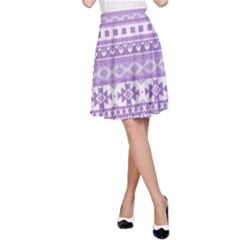 Fancy Tribal Borders Lilac A Line Skirts