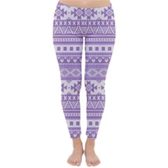 Fancy Tribal Borders Lilac Winter Leggings