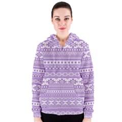 Fancy Tribal Borders Lilac Women s Zipper Hoodies
