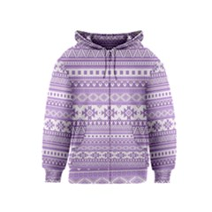 Fancy Tribal Borders Lilac Kids Zipper Hoodies