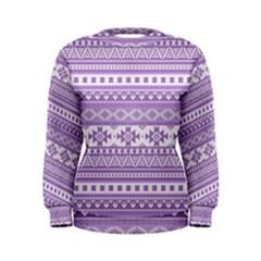 Fancy Tribal Borders Lilac Women s Sweatshirts