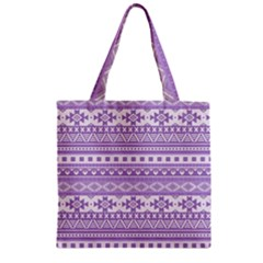 Fancy Tribal Borders Lilac Zipper Grocery Tote Bags