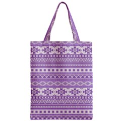 Fancy Tribal Borders Lilac Zipper Classic Tote Bags