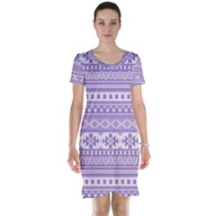 Fancy Tribal Borders Lilac Short Sleeve Nightdresses