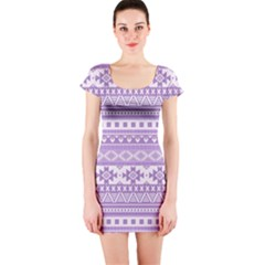 Fancy Tribal Borders Lilac Short Sleeve Bodycon Dresses