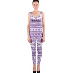 Fancy Tribal Borders Lilac OnePiece Catsuits