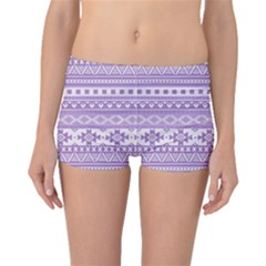 Fancy Tribal Borders Lilac Boyleg Bikini Bottoms