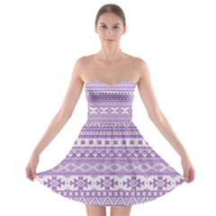 Fancy Tribal Borders Lilac Strapless Bra Top Dress