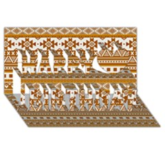Fancy Tribal Borders Golden Happy Birthday 3D Greeting Card (8x4)