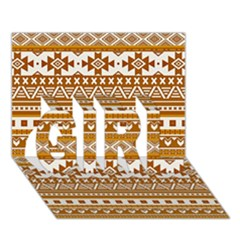 Fancy Tribal Borders Golden Girl 3d Greeting Card (7x5)