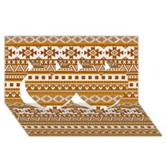 Fancy Tribal Borders Golden Twin Hearts 3D Greeting Card (8x4)