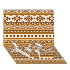Fancy Tribal Borders Golden LOVE Bottom 3D Greeting Card (7x5)