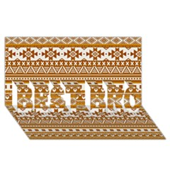 Fancy Tribal Borders Golden BEST BRO 3D Greeting Card (8x4)