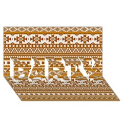 Fancy Tribal Borders Golden PARTY 3D Greeting Card (8x4)