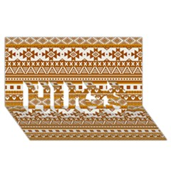 Fancy Tribal Borders Golden HUGS 3D Greeting Card (8x4)