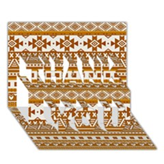 Fancy Tribal Borders Golden THANK YOU 3D Greeting Card (7x5)
