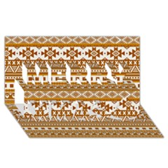 Fancy Tribal Borders Golden Merry Xmas 3D Greeting Card (8x4)