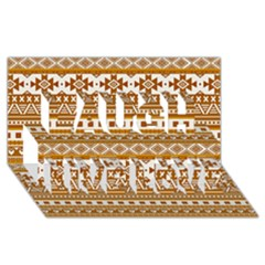 Fancy Tribal Borders Golden Laugh Live Love 3D Greeting Card (8x4)