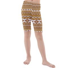 Fancy Tribal Borders Golden Kid s swimwear