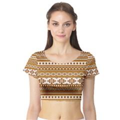 Fancy Tribal Borders Golden Short Sleeve Crop Top
