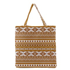 Fancy Tribal Borders Golden Grocery Tote Bags