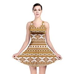 Fancy Tribal Borders Golden Reversible Skater Dresses
