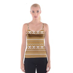 Fancy Tribal Borders Golden Spaghetti Strap Tops