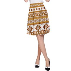 Fancy Tribal Borders Golden A Line Skirts