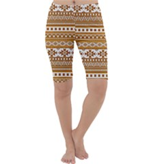 Fancy Tribal Borders Golden Cropped Leggings