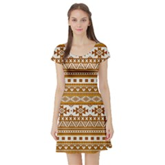 Fancy Tribal Borders Golden Short Sleeve Skater Dresses