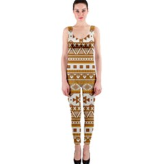 Fancy Tribal Borders Golden OnePiece Catsuits