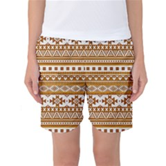 Fancy Tribal Borders Golden Women s Basketball Shorts