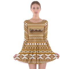 Fancy Tribal Borders Golden Long Sleeve Skater Dress